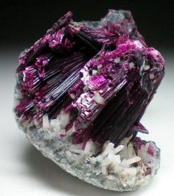 Erythrite [Co3(AsO4)2  8(H2O)]. Secondary mineral in cobalt-bearing deposits.  Morocco: Gems Minerals Crystals Rocks, Gem Stones, Gems Stones Rocks, Crystals Rocks And Minerals, Rocks Minerals Crystals Gems, Crystals Gemstones, Crystals Rocks Minerals Gem