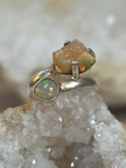 Ethiopian Opal Ring 2 with Fire Opal: Opal Rings, Fire Opals, Dendritic Opals