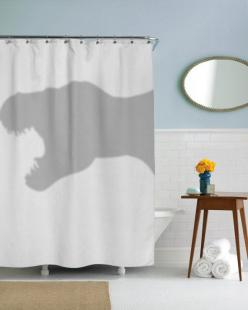 Exclusive Crazy Dog branded shower curtain  High quality professional print. The best shower curtain on earth!  71 by 77 - fits all standard: Showers, T Rex Shower, Trex Shower, Dinosaurs, Funnies, Dinosaur Funny, Shower Curtains, Bathroom