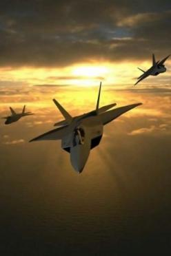 F-22 Raptors...ya gotta luv dat sunset ☻ Must be in Cali where my homies are designin' it!: F22 Raptor, F 22 Raptor, Military Aircraft, Sunset, Awesome Airplanes, Wallpaper, Military Airplanes, Raptors, Fighter Jets