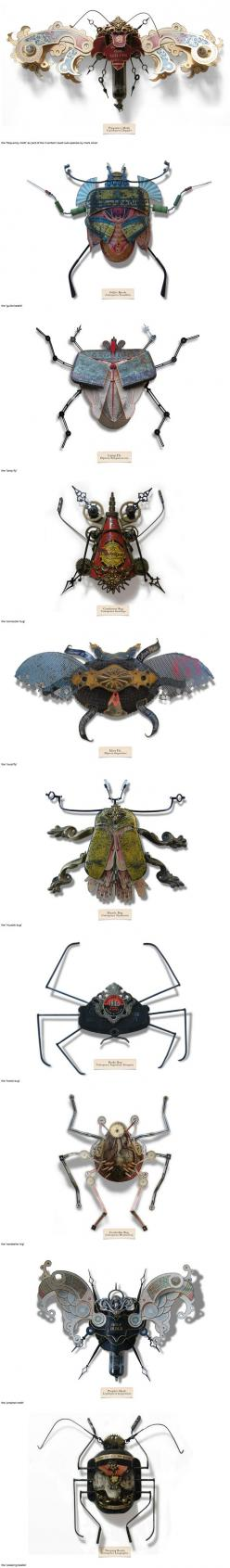 Fantasy | Whimsical | Strange | Mythical | Creative | Creatures | Dolls | Sculptures | Litterbugs from recycled items. By Mark Oliver: Sculpture Ideas, Assembly, Paper, Art Ideas, Life Entirely, Insects Called, Art Insects, Beetle