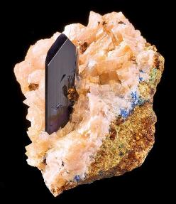 Fine crystal of Azurite rising up from a bed of Dolomite covered matrix. From the Tsumeb Mine, Tsumeb, Otjikoto Region, Namibia.: Crystals Gemstones Fossils, Gems Minerals, Crystals Stones, Rocks Gemstones Crystals, Gemstones Rocks, Gemstones New, Earth M
