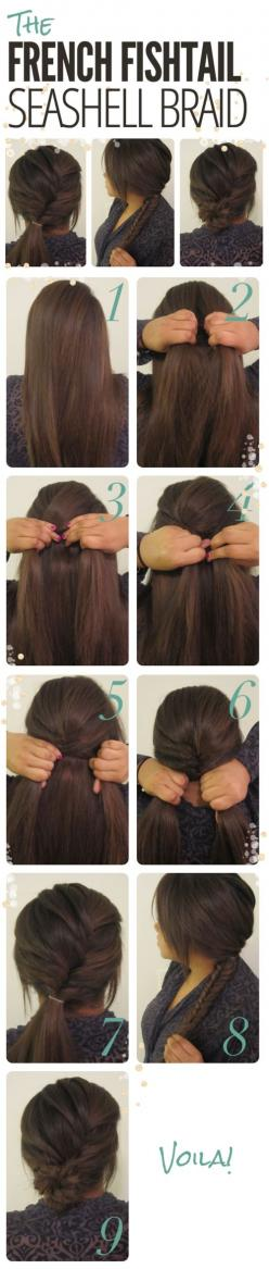 First you do a fishtail braid, hold it with a hair band, fishtail the rest of your hair and make it into a bun!- so doing this! If I ever learn how to fishtail...: Hairstyles, Hair Styles, Hairdos, Cute Updo, Hair Tutorial, Fishtail Seashell, Updos, Seash
