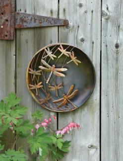 Flame Finished Dragonfly Disc: Metal Walls, Finished Dragonfly, Garden Art, Metals, Metal Wall Art, Dragonfly Disc, 3D Wall Art, Dragonflies