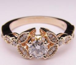 floral vintage with diamonds: Diamond Engagement Rings, 14K Rose, Wedding Ring, Diamonds, Rose Pink, Pink Gold, Floral Vintage