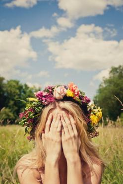 Flower halo, blue skies.: Picture, Inspiration, Flower Crowns, Quote, Wedding, Hair, Photography