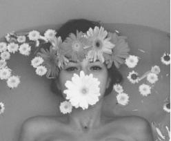 flowered-not sure on photographer: Picture, Idea, Girl, Art, Bath, White, Flowers, Photography, Black