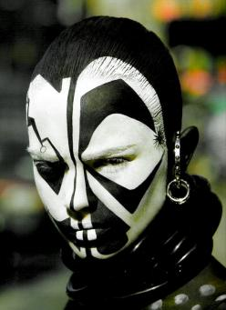 For those of you considering any of the Zambique lands as a character source - we were considering the use of heavy makeup as a basic style?: Faces, Black And White, Makeup, Body Art, Facepaint, Body Paint, Face Painting, Tribal Face