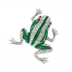 "Frog Pin with Crystals - Now here is one stylish amphibian!  Available in rhodium (non-tarnishing) or gold plate.  Just under 1"" long.  