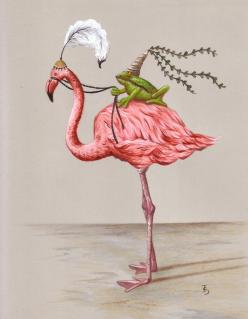 Frog Princess print from an original acrylic illustration by Irene Owens: Illustrations, Flamingo Art, Flamingos, Frogs, Animal