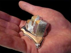 Gallium is this crazy element that has a melting temperature of about 85 degrees fahrenheit so when you hold it, it will begin to melt in your hand.: Stuff, Gift Ideas, Hands, Metals, Science
