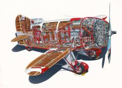 Gee Bee Model R Cut-a-way by Tom Johnson of Portland, OR: Bees, Airplanes, Aircraft, Cutaway Drawings