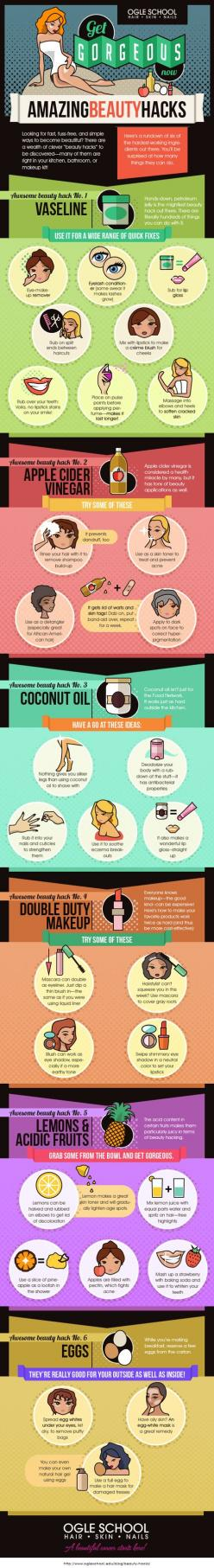 Get Gorgeous Now: Six Amazing Beauty Hacks [Infographic] on imgfave: Amazing Beauty, Beauty Tips, Beauty Hacks, Life Hack, Beauty Infographic, Beauty Diy