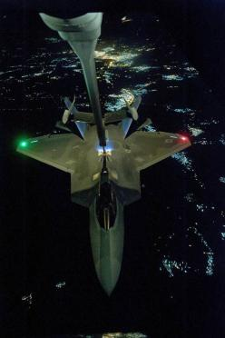 Give 'em hell! Image: U.S Air Force KC-10 Extender refuels an F-22 Raptor fighter aircraft: Raptor Fighter, Fighter Aircraft, F 22 Raptor, Air Force, F22, Syria, Raptors