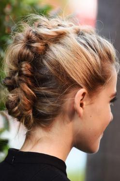 Go for a different look and try a braided up-do.: Braided Updo, Braided Hair, Dutch Braid Updo, Hairstyle, Hair Style, Hair Knot, Braided Mohawk