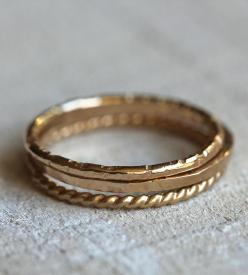 Gold Stacking Rings - Set of 3 | Jewelry Rings | Praxis Jewelry | Scoutmob Shoppe | Product Detail: Fashion, Gold Stacking, Style, Dress, Gold Rings, Wedding Bands, Stacking Rings, Jewelry Rings