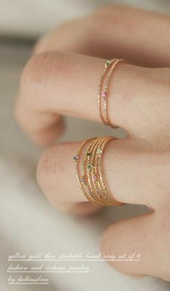 Gold Thin Stack Rings Set of 6 from Kellinsilver.com – thin gold stackable rings, thin gold ring, thin gold ring band: Gold Stacking Rings, Gold Stackable, Thin Gold Rings, Gold Thin, Tiny Gold Rings, Mothers Rings Gold, Birthstone Stackable Rings