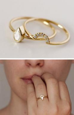 Gorgeous! Stacking pear ring with crescent band -- but with a gemstone instead!: Dainty Engagement Ring, Dainty Wedding Ring, Simple Unique Engagement Ring, Pear Engagement Ring, Unique Simple Engagement Ring, Stacked Wedding Ring