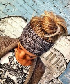 Gray Cable Knitted Headband Ear Warmer Pinterest Favorite! | three bird nest - Need for winter!: Messy Bun, Hairstyle, Head Band, Hair Color, Knit Headband, Knitted Headband