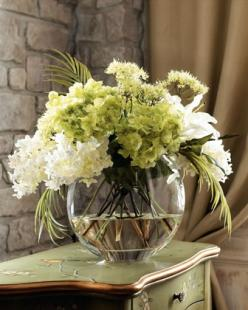 Green & White Faux Flowers by John-Richard Collection at Horchow. $395.00 - RE diculous.: Decor, Bowl, Color, Wedding Ideas, Green, Faux Flowers, Flower Arrangements, Wedding Flowers, Floral Arrangements