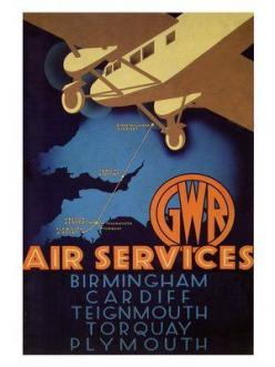 gwr-air-services-travel-poster-1933 by nostalgicphotosandprints,: Vintage Posters, Airline Posters, Railway, Travel Posters, Gwr Air, Vintage Travel, Art Deco