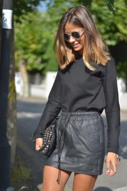 hair envy // easy messy waves // natural golden ombre // leather skirt // blonde highlights // black on black // naturally beautiful #shopdailychic: Hair Colors, Fashion, All Black, Leather Skirts, Street Style, Outfit, Hairstyle, Beauty, Hair Colour