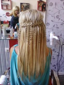 hair: Hair Ideas, Beauty Tips, Hairstyles, Hair Styles, Makeup, Cool Braids, Waterfall Braids, Crimped Hair, Peinado Hair