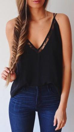 Hair Style and Lace V Neck Top Outfit Fantastic Combination Look...<3: Simple Outfit, Tank Top Outfit, Black Top, Casual Outfit, Lace Top, Lace Outfit, Casual Look