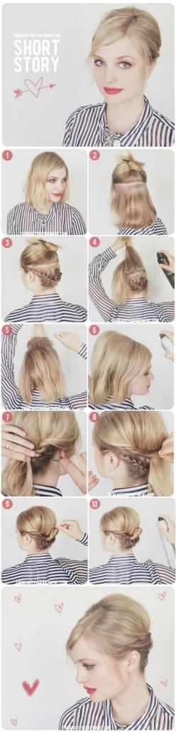 Hair Tutorials For Short Hair | med | chic updo | teased and braided | side part  | blonde | great for work: Short Hair, Hair Tutorials, Hairstyles, Hair Styles, Makeup, Shorts, Hair Updo, Shorthair