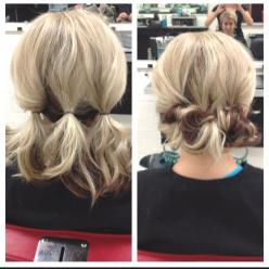 Hairdo for work? It would look more put together then just a pony, but looks easy to do and would keep my hair out of my face...: Short Hair, Hairstyles, Messy Bun, Hairdos, Hair Styles, Hair Do, Updos, Easy Updo