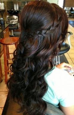 Half Up Half Down Hairstyle with Braid - Prom Curly Hairstyle Ideas 2015: Hair Ideas, Hairstyles, Half Up, Hair Styles, Updo