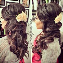 half up/ half down, put a cute flower or something in my hair after pictures so my hair won't seem plain when i take the tiara and vail out: Hair Ideas, Weddinghair, Half Up, Hair Styles, Wedding Ideas, Wedding Hairstyles, Updo