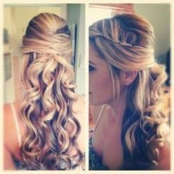 Half-Up Prom Hairstyles   Gallery of Prom Hairstyles For Long Hair Curly Half Up 2014: Hair Ideas, Hairstyles, Half Up, Hair Styles, Wedding Ideas, Makeup, Prom Hair, Beauty