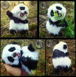 HAND MADE Poseable Baby Panda! by Wood-Splitter-Lee.deviantart.com on @deviantART - Many more beautiful, realistic stuffed animals... all posable!: Wood Splitter Lee, Baby Pandas, Babies, Poseable Baby, Art, Handmade, Hand Made, Sold Hand, Animal