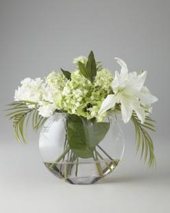 "Handcrafted arrangement in glass vase with acrylic ""water"" is approximately 24""W x 17""D x 20""T. From the: White Flowers, John Richard Collection, Collection Green, Faux Flower Arrangements, Faux Flowers, White Faux, Floral Arrangements"