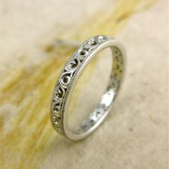 Handmade Floral Patterned Wedding Ring in by AdziasJewelryAtelier: Beautiful Wedding Band, Simple Wedding Ring, Simple Wedding Band, Wedding Bands, Wedding Rings, Engagement Ring