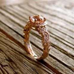 Handmade Pink Peach Morganite & Diamond Engagement Ring in 18K Rose Gold with Leafs Vine and Antiquing: Diamond Engagement Rings, Rose, Morganite Engagement Rings, Wedding, Handmade Pink, Peaches, Pink Peach, Engagement Rings Morganite, Peach Morganit