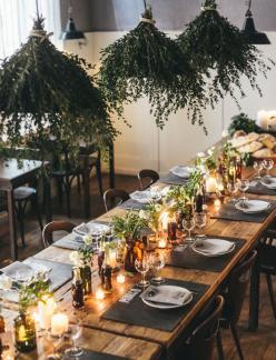 hanging florals or greens creates such a romantic and warm feeling with this table setting. each place is kept simple and restrained so that the candles and varying florals stand out and cast a wonderful hue.   www.trixandtrumpet.com: Wedding Inspiration,