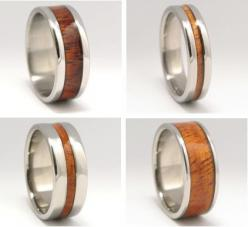 Hawaiian Koa Wood Rings are made on the Big Island of Hawaii from exotic native Koa wood and titanium, one of the world's most environmentally friendly metals. Titanium is 7% stronger and 30% lighter than platinum, and its total biocompatibility makes