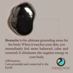 Hematite is the ultimate grounding stone for the body. When it touches your skin, you immediately feel more balanced, calm and centered. It eliminates the negative energy in your body by drawing it into itself.: Crystals, Grounding Stone, Crystal And Ston