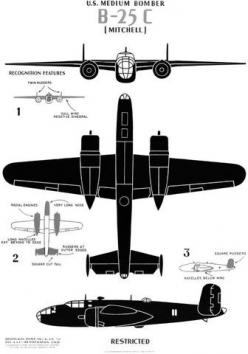 Historic poster showing major identifying features of the WWII B-25C medium bomber aircraft. #wwii #airplane #vintage: Wwii Airplane, Framed Canvas, Gift, B 25C Mitchell, Mitchell Bomber, A Frame, Bomber B 25C, Historic Poster