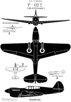 Historic poster showing major identifying features of the WWII P-40E fighter aircraft. #vintage #airplane #wwii: Fighter Aircraft, Fighter P 40E, P 40E Kittyhawk, P 40E Fighter, Vintage Airplanes, Airplane Wwii, Wwii P 40E, Historic Poster