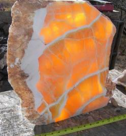 Honeycomb Calcite  It's hard to take your eyes off this slab.  Honed and polished on two sides, its translucency allows the color and cell-structure to stand out.: Gems Minerals, Gemstones Minerals, Honeycomb Calcite, A Gemstones, Crystals Gems Rocks,