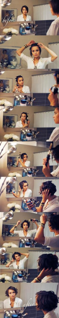 How to curl short hair by Kelly Framel (The Glamourai). Perfect for my hair. Simply love it!: Easy Short Hair Style, Hair Styles, Hairstyle Tutorials, How To Style Short Bob, Short Hairstyles, Curl Short Hair, Easy Hairstyles Tutorials, Medium Hair, Short