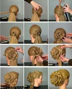 How to DIY Rose Flower Hair Bun Updo Hairstyle | www.FabArtDIY.com #diy #hairstyle #rose hair bun LIKE Us on Facebook ==> https://www.facebook.com/FabArtDIY: Amazing Flower, Crazy Updo, Hair Bun, Crazy Hair Updo