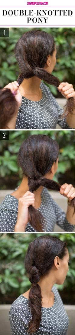 How to do a double-knotted low ponytail.: Lazy Girl Hairstyles, Hair Styles, Makeup, 15 Super Easy, Super Easy Hairstyles, Beauty, Lazy Girls, Hairstyles Hairstyles