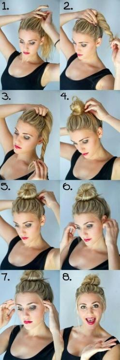How to do a messy bun, it is so easy!: Messy Bun, Hairstyles, Hair Styles, Hair Bun, Hair Tutorial, Hair Makeup, Top Knot