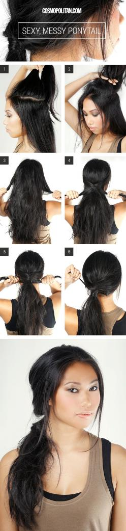 How to do a sexy, messy ponytail: Hair Ideas, Hairstyles, Messy Ponytail, Hair Styles, Hair Tutorial, Hair How To, Messy Pony Tail, Beauty Blog