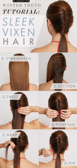 How to do a twisted ponytail // love this look!  I love this, but my hair is so thick that I don't know if I could pin it back like in the third step, it always falls out really fast when I try to do similar things.: Hairstyles, Hairdos, Hair Styles,
