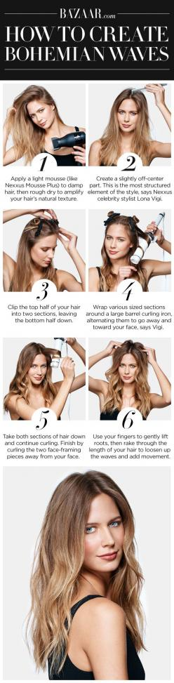 How to get the perfect 1970s bohemian-inspired hair waves.: Boho Wavy, Fall Hair Trend, Boho Hairstyles Tutorials, 1970S Hairstyles, Hair Makeup, Wavy Hair Tutorials, Boho Wave
